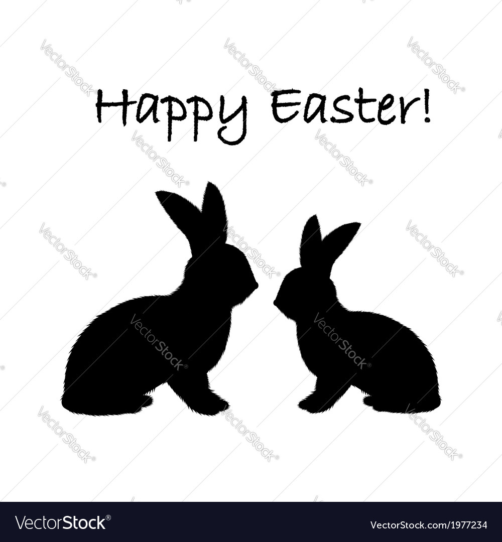 Monochrome silhouette of two easter bunny rabbits vector | Price: 1 Credit (USD $1)