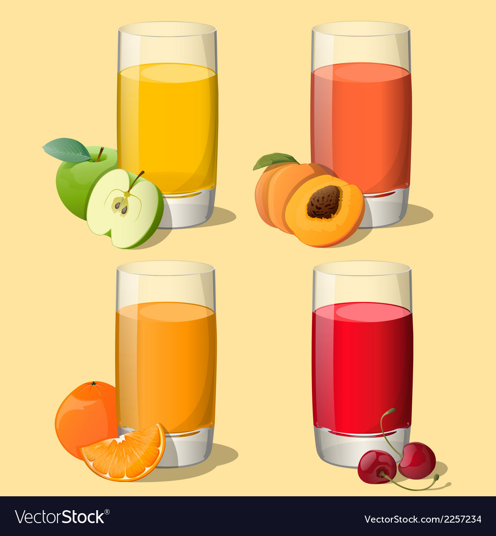 Set of juices in glass vector | Price: 1 Credit (USD $1)