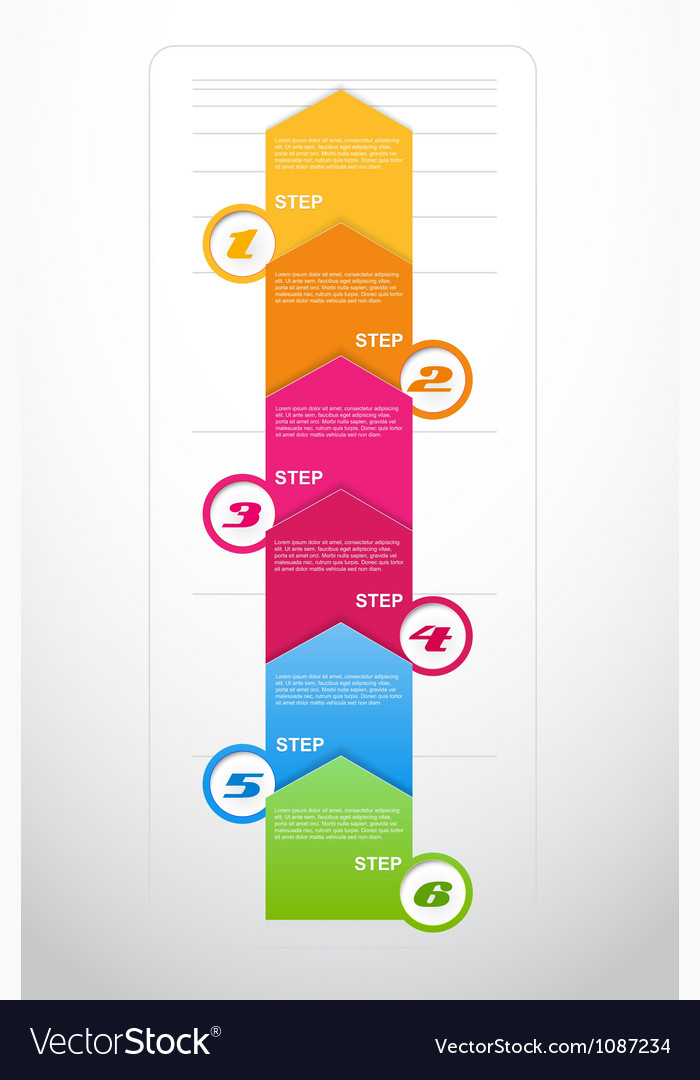 Six steps arrows for presentations vector | Price: 1 Credit (USD $1)