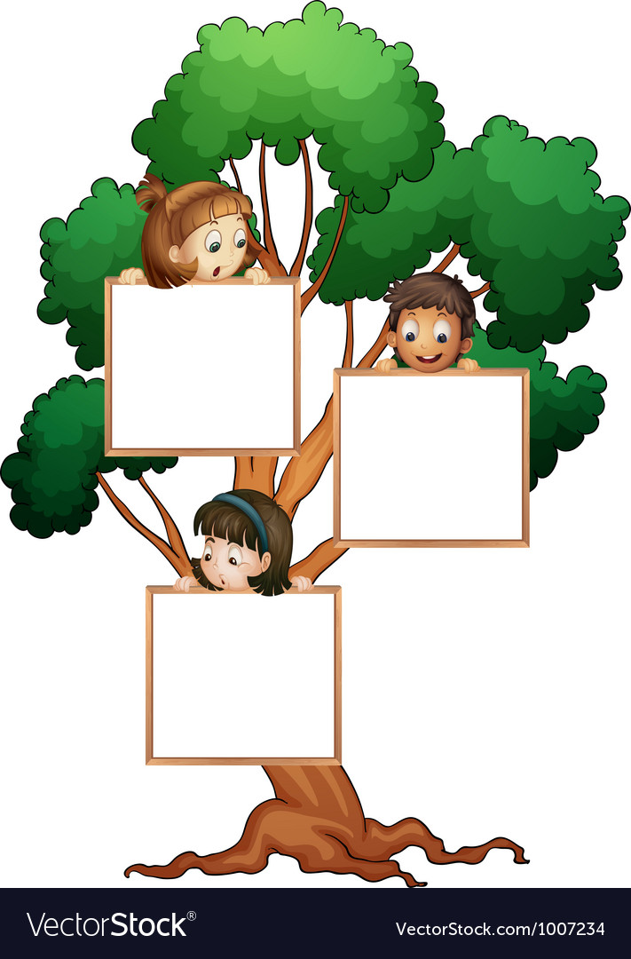 Tree sign with kids vector | Price: 3 Credit (USD $3)