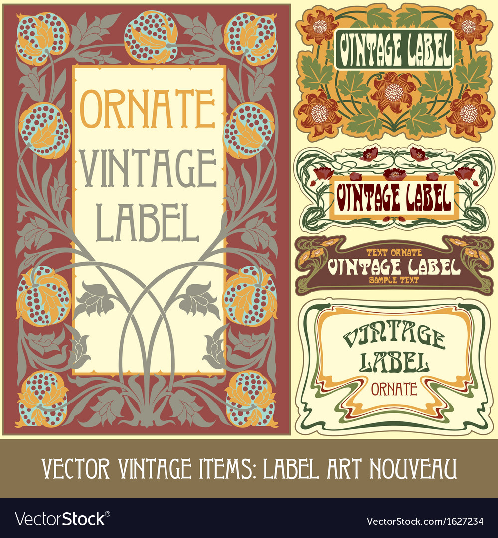 Vintage items - label art nouveau vector | Price: 1 Credit (USD $1)