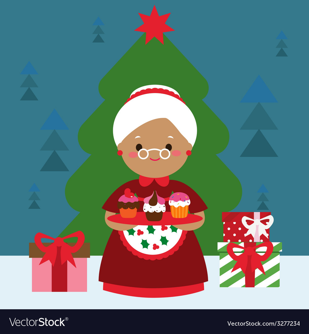 Winter holiday card with grandmother with cakes vector | Price: 1 Credit (USD $1)