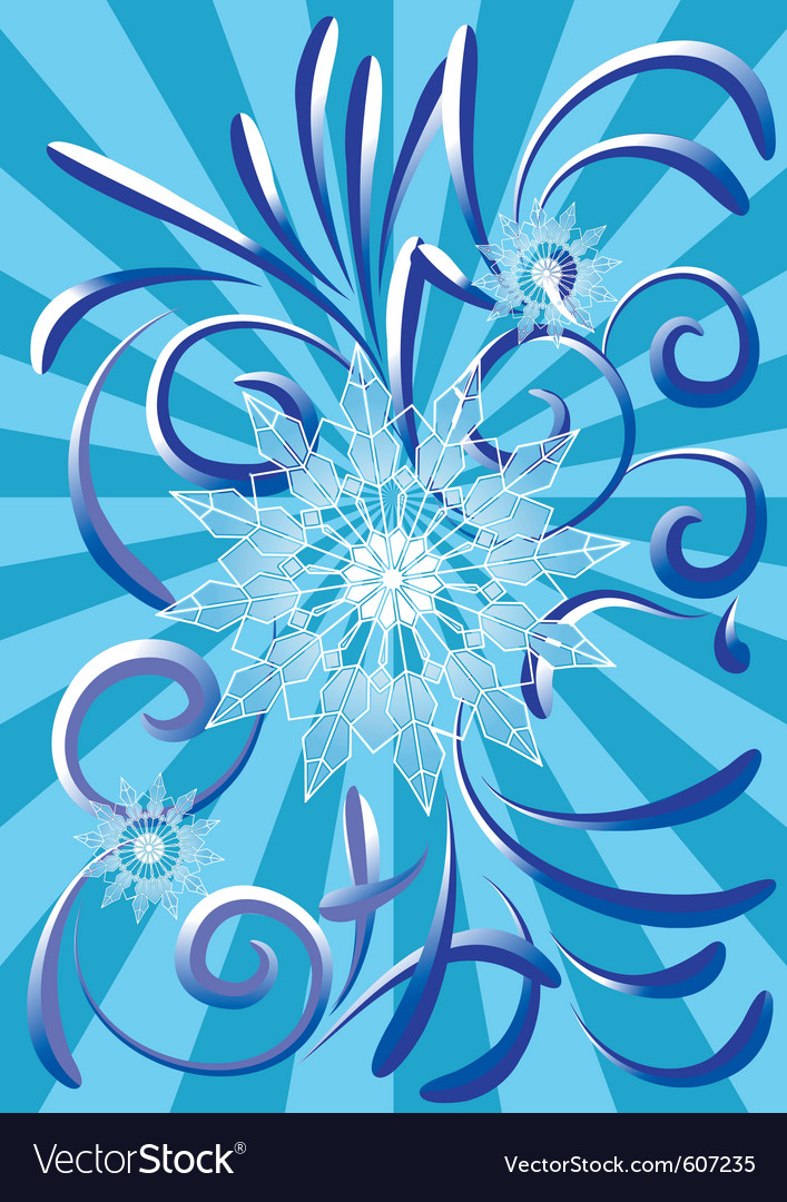 Abstract blue snowflake background vector | Price: 1 Credit (USD $1)