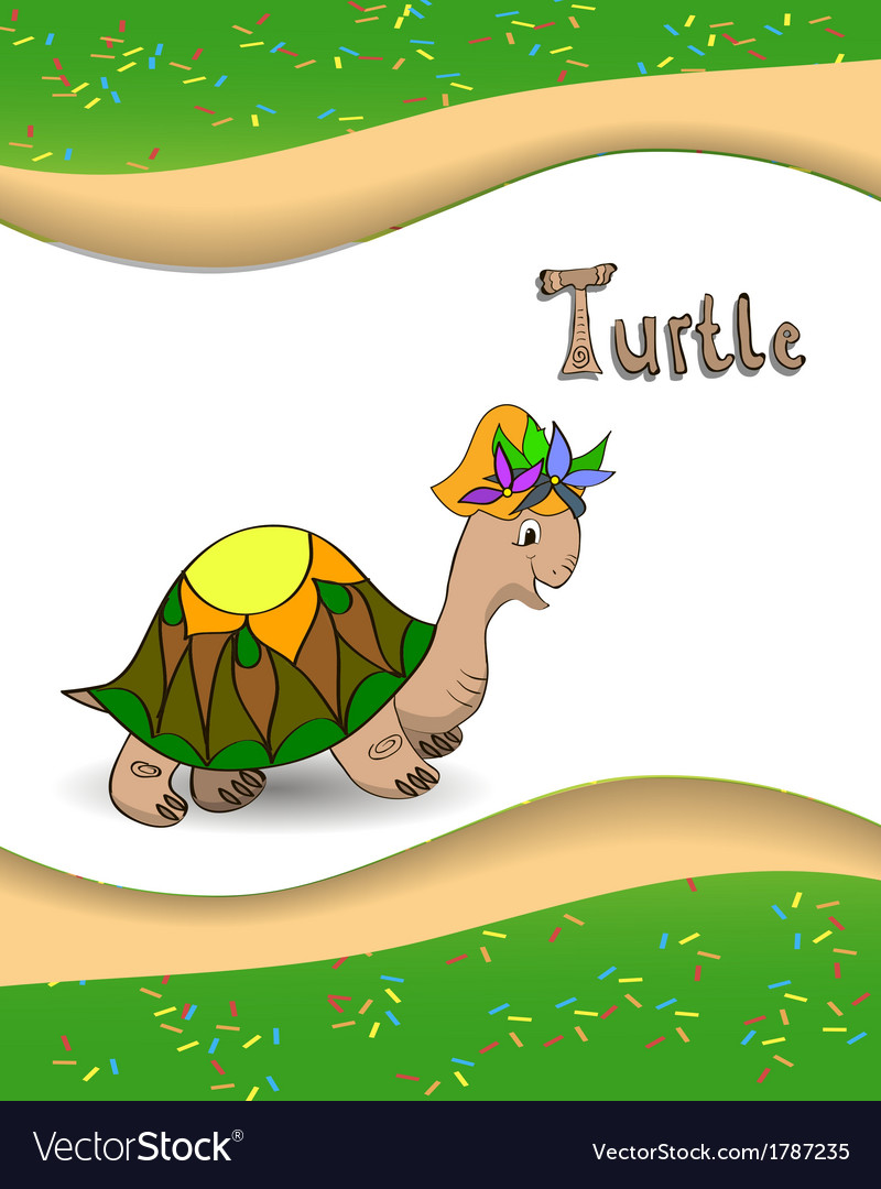 Alphabet letter t and turtle vector | Price: 1 Credit (USD $1)