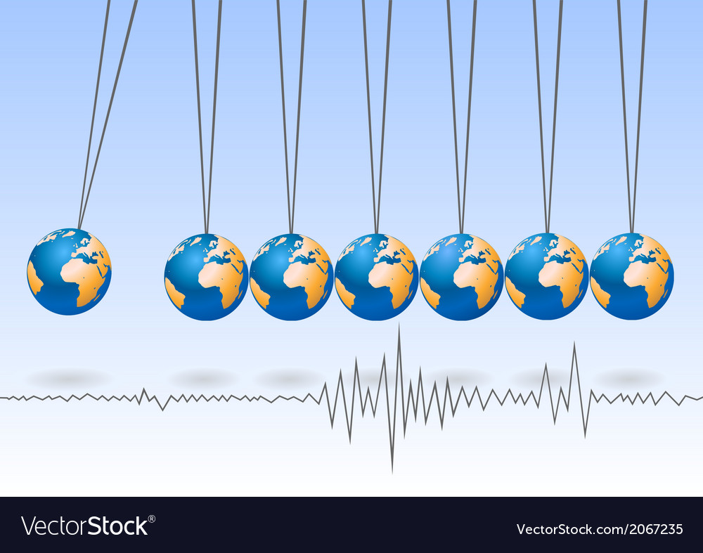 Balancing earth ball earthquake activity vector | Price: 1 Credit (USD $1)