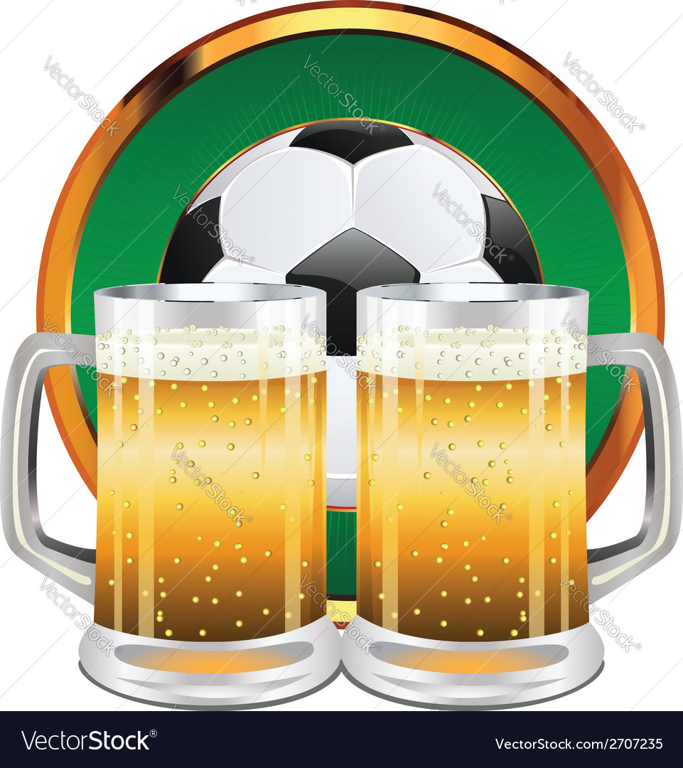 Beer and soccer ball5 vector | Price: 1 Credit (USD $1)