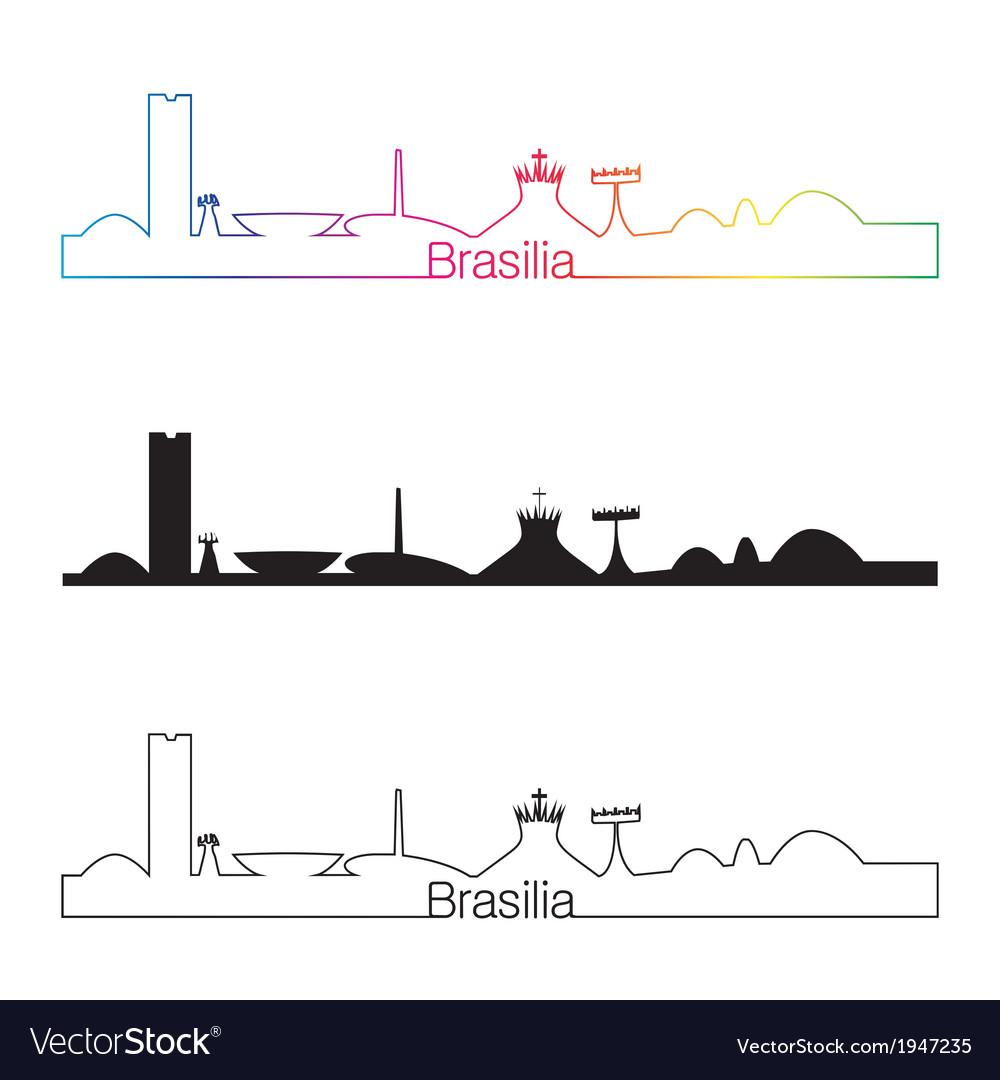 Brasilia skyline linear style with rainbow vector | Price: 1 Credit (USD $1)