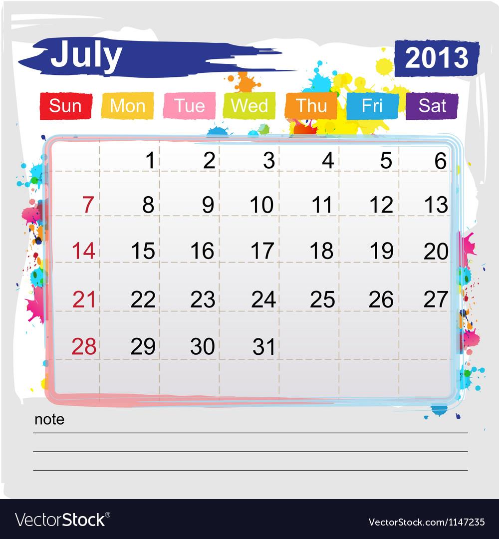Calendar july 2013 vector   Price: 1 Credit (USD $1)