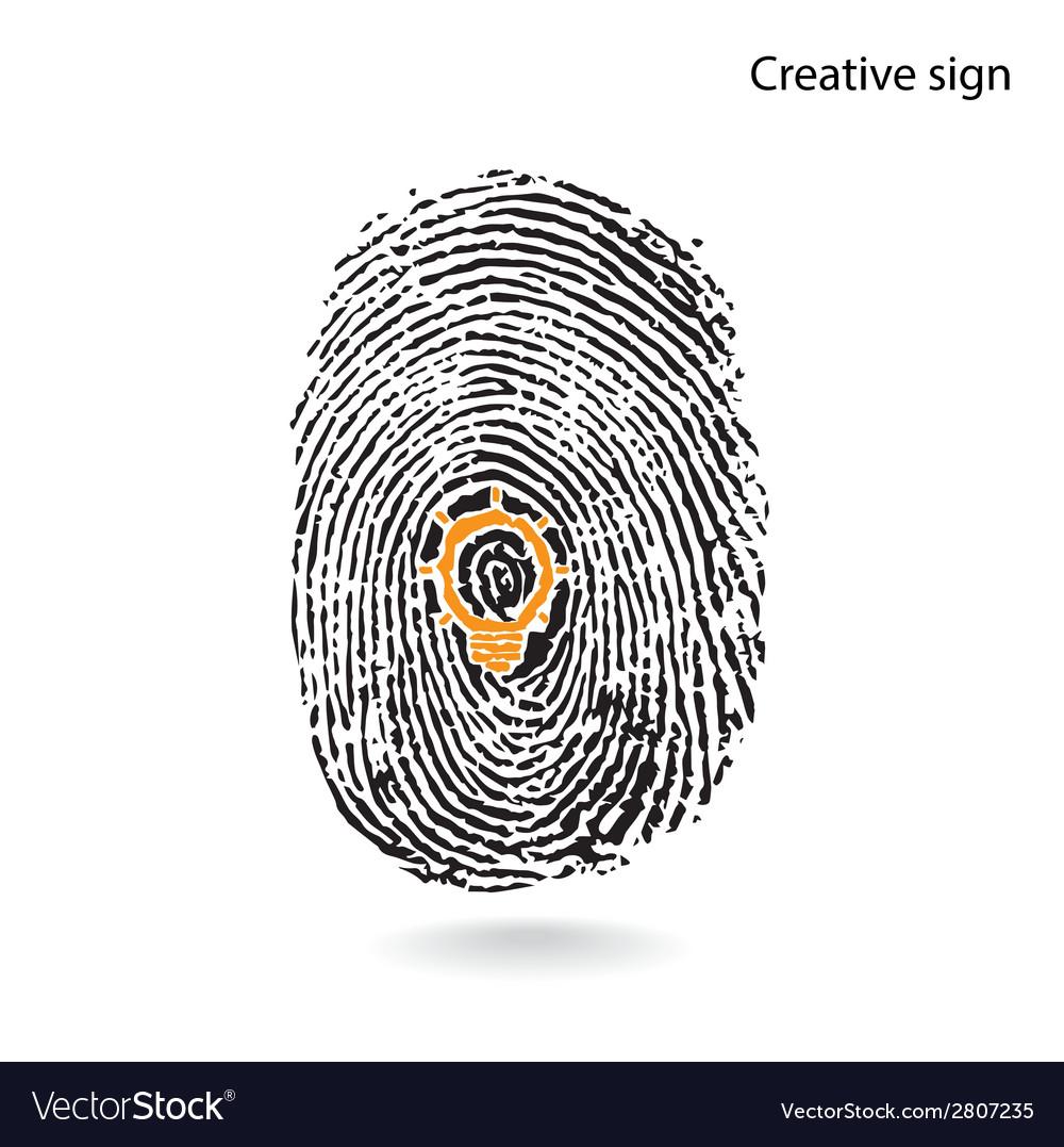 Creative light bulb idea concept with fingerprint vector | Price: 1 Credit (USD $1)