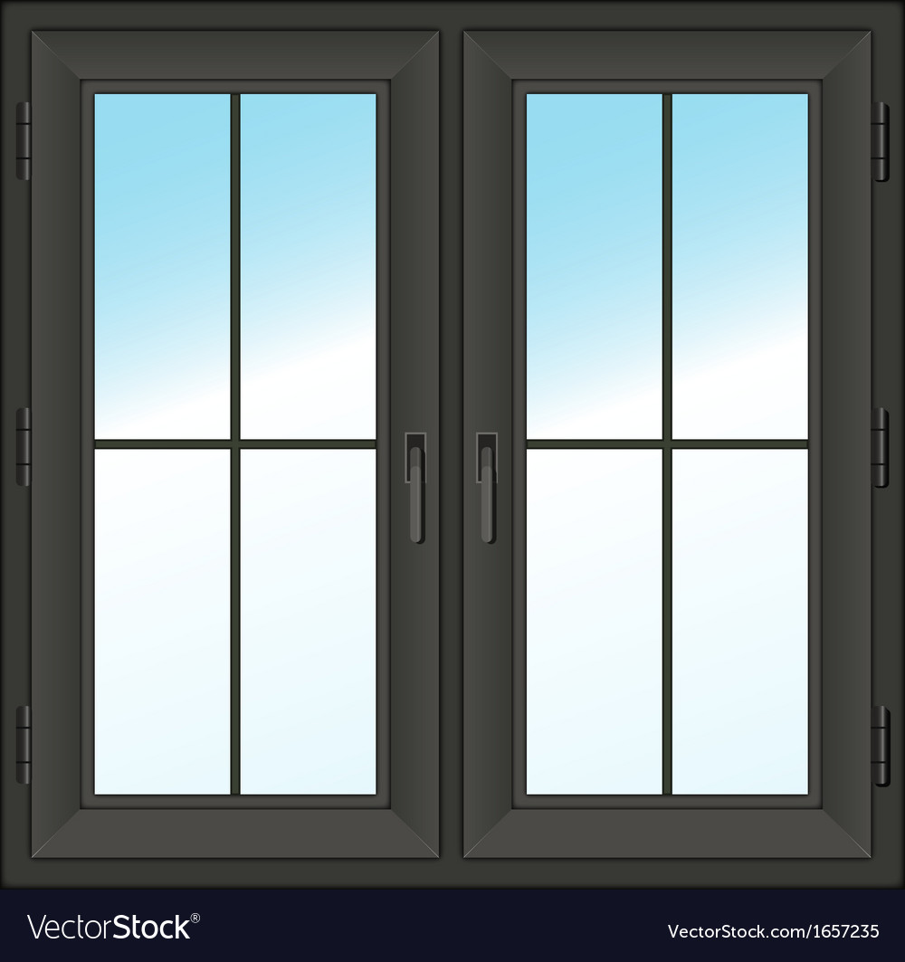 Dark closed double window vector | Price: 1 Credit (USD $1)