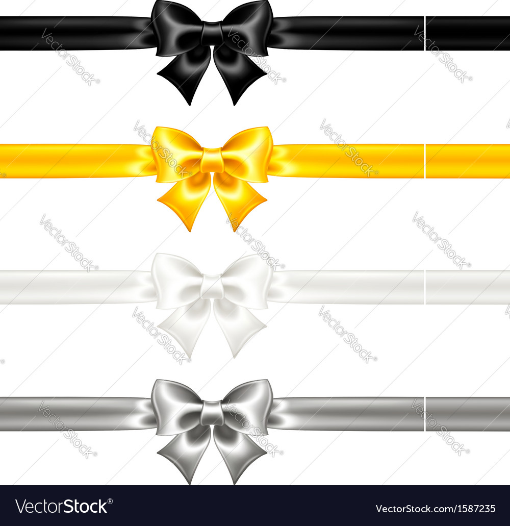 Festive bows black and gold with ribbons vector | Price: 1 Credit (USD $1)