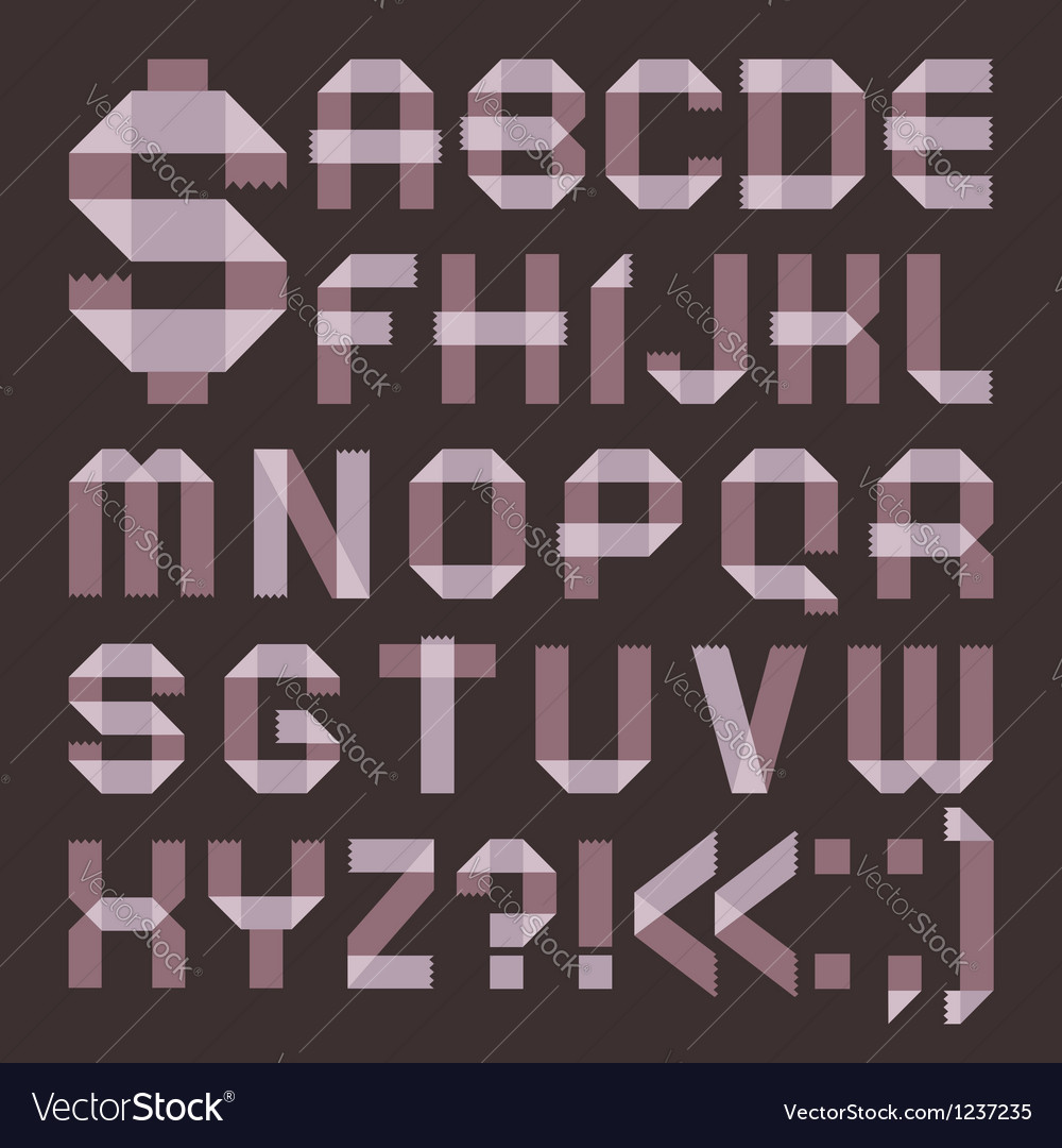 Font from lilac scotch tape - roman alphabet vector | Price: 1 Credit (USD $1)