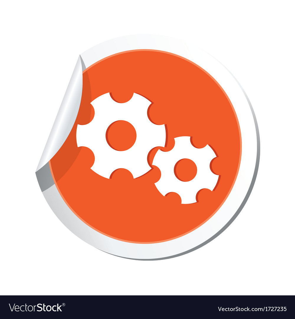 Gear sign orange sticker vector