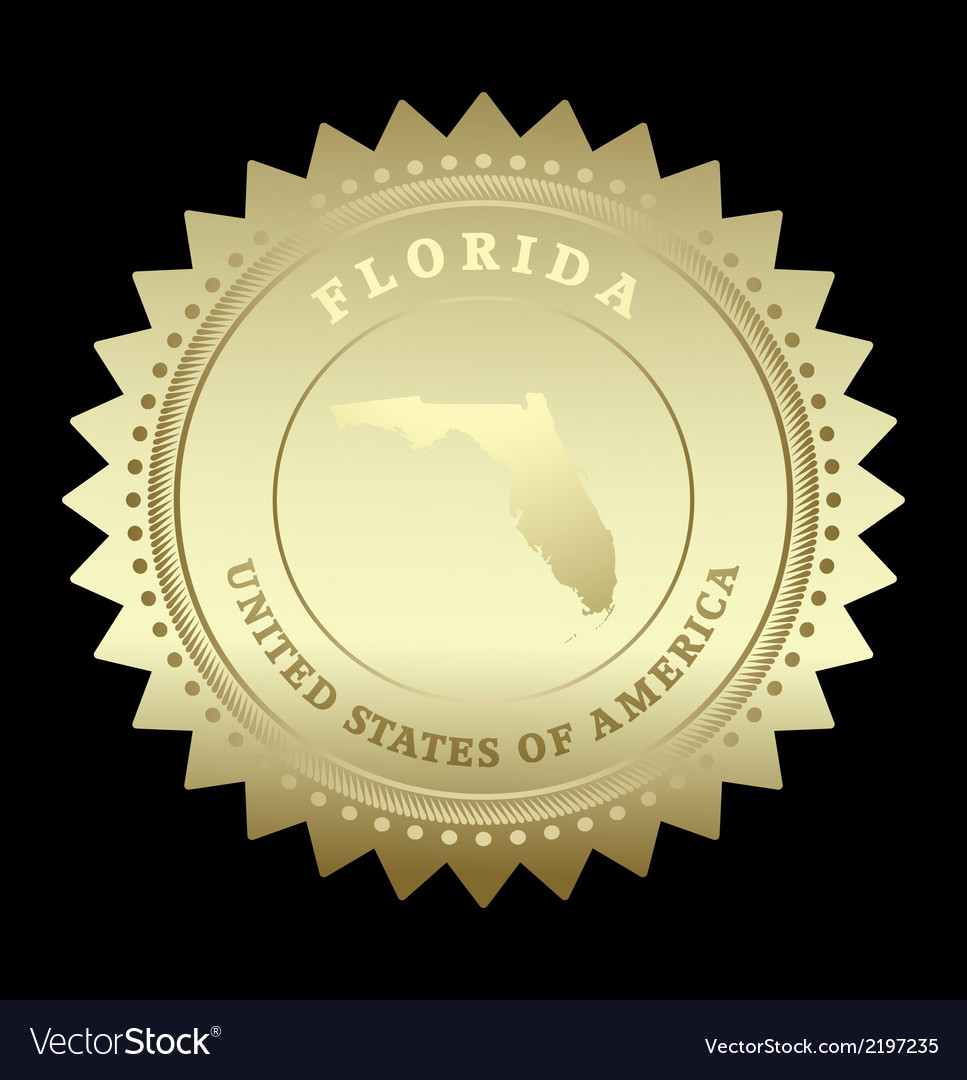 Gold star label florida vector | Price: 1 Credit (USD $1)