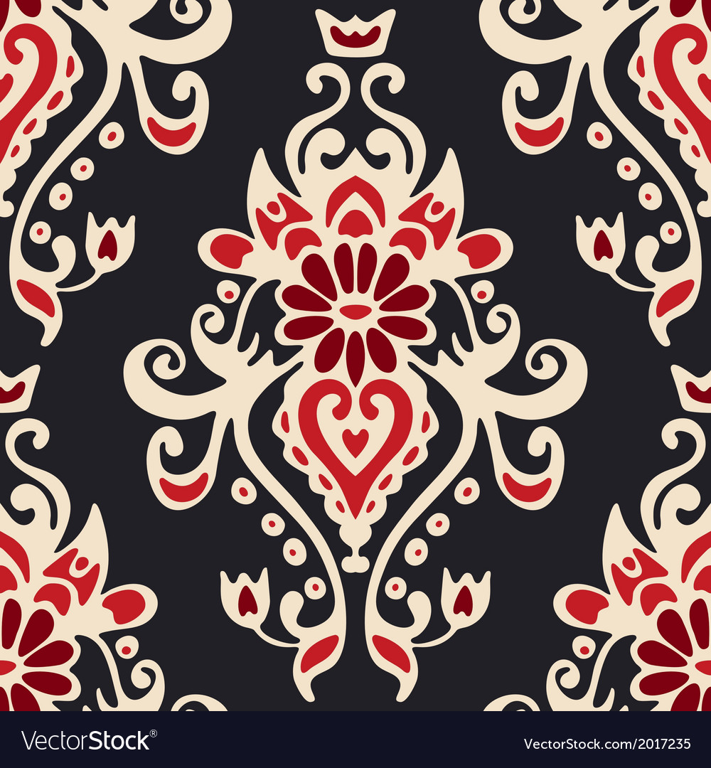 Luxury damask seamles tiled motif pattern vector | Price: 1 Credit (USD $1)