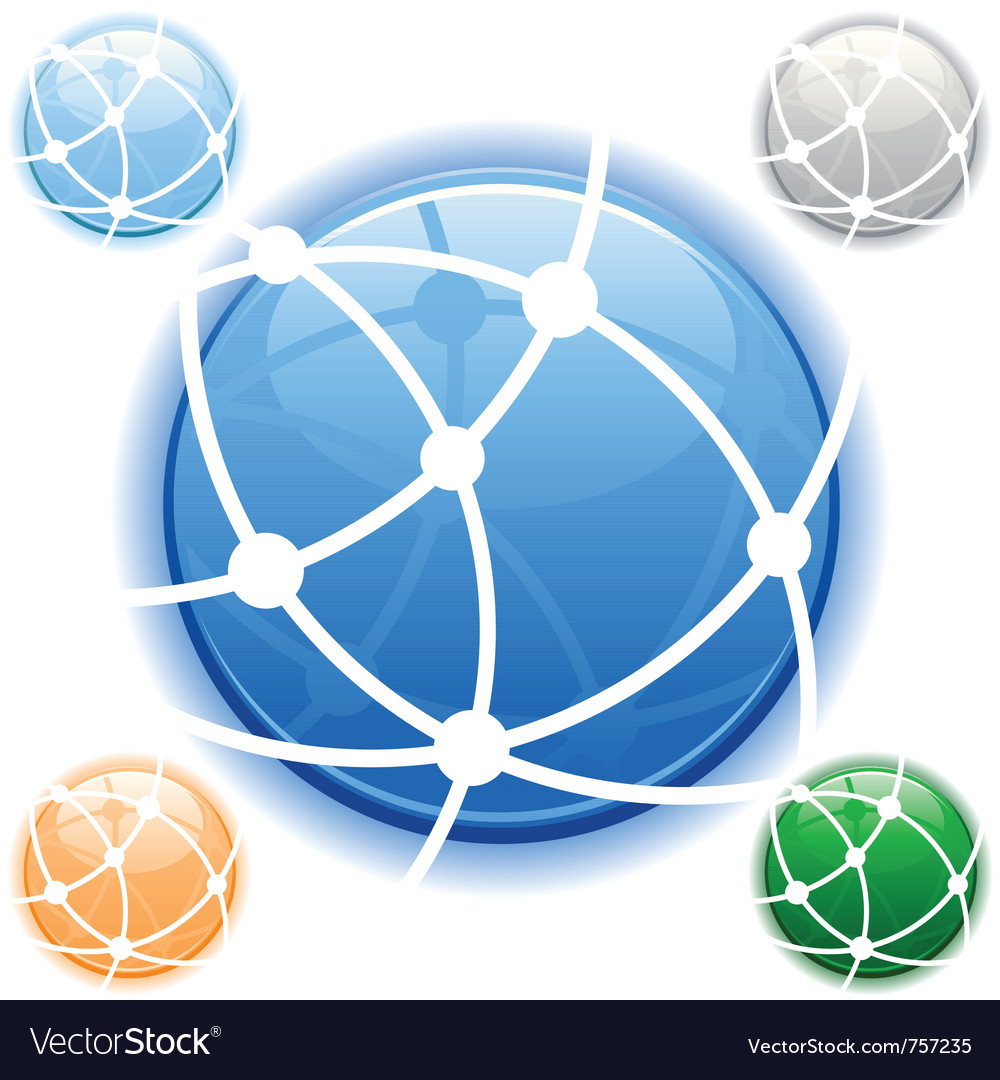 Network icon in blue on isolated white background vector | Price: 1 Credit (USD $1)