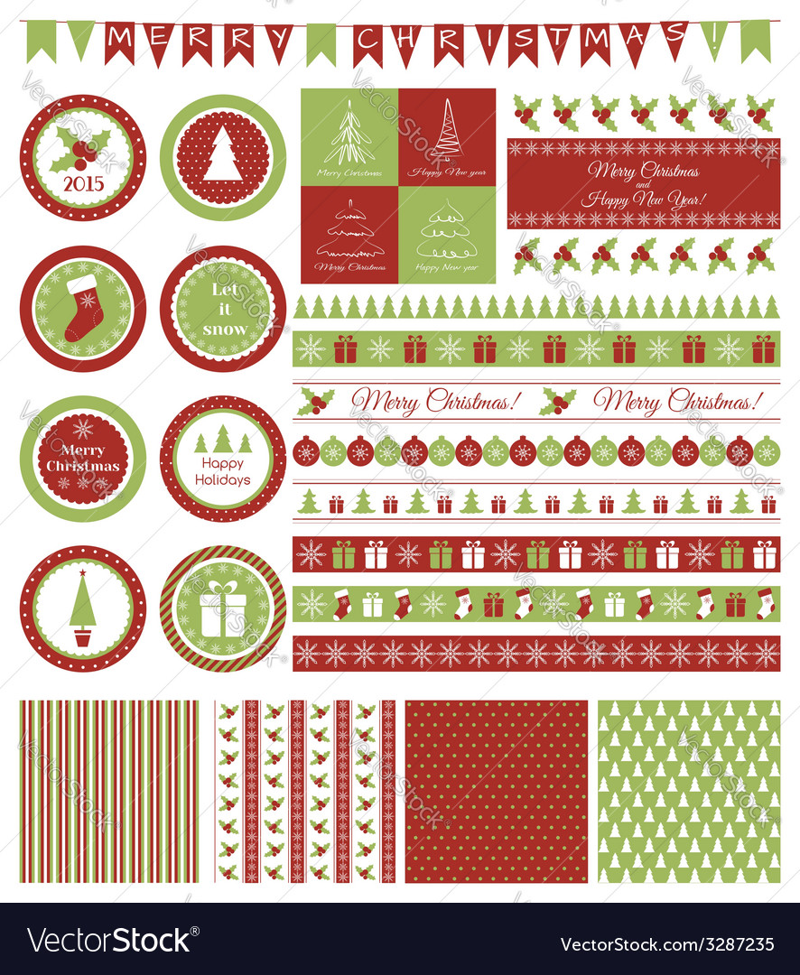 Set of design elements for christmas party vector | Price: 1 Credit (USD $1)