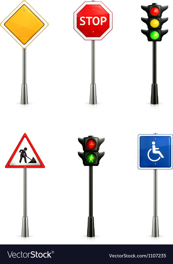 Set of road signs vector | Price: 3 Credit (USD $3)