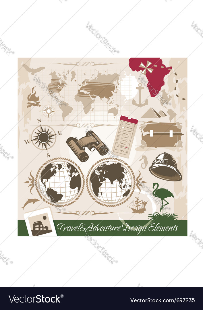 Set of travel and adventure design elements vector | Price: 3 Credit (USD $3)
