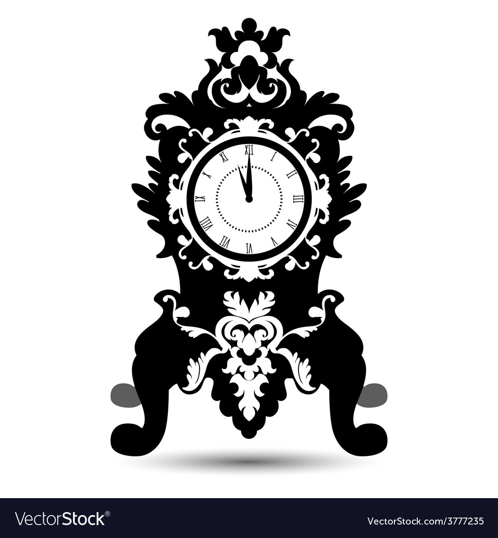 Silhouette of vintage watch in baroque style vector | Price: 1 Credit (USD $1)
