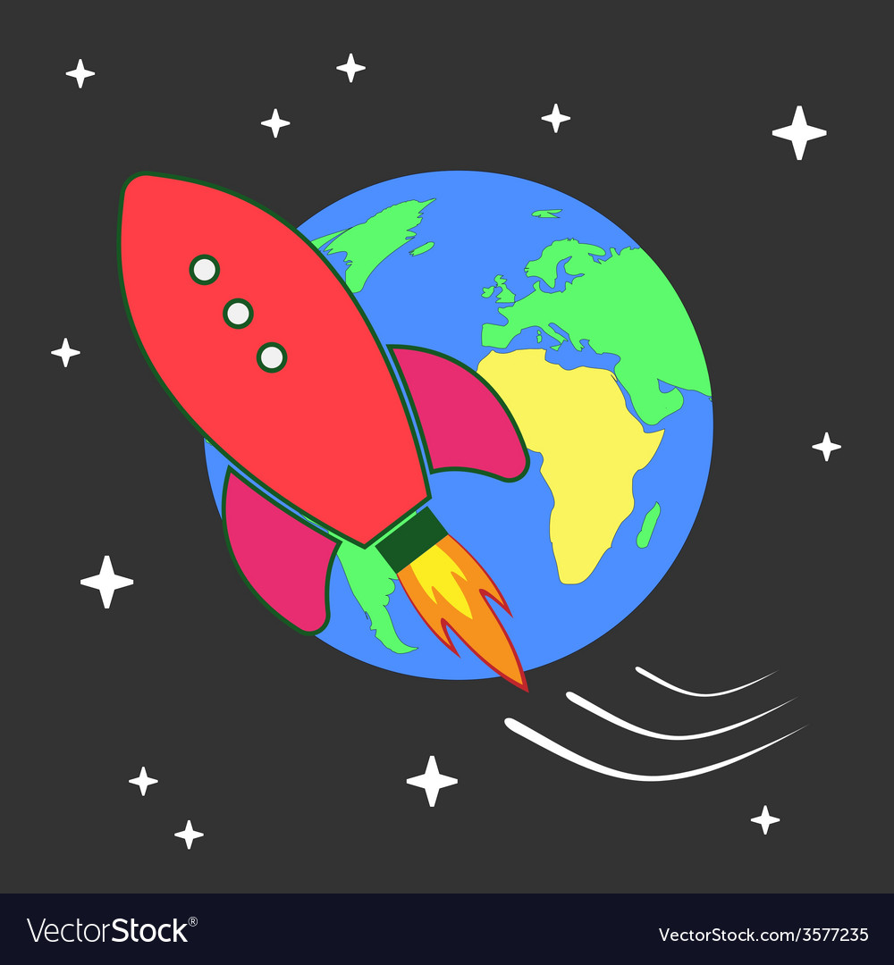 Space rocket flying around earth vector | Price: 1 Credit (USD $1)