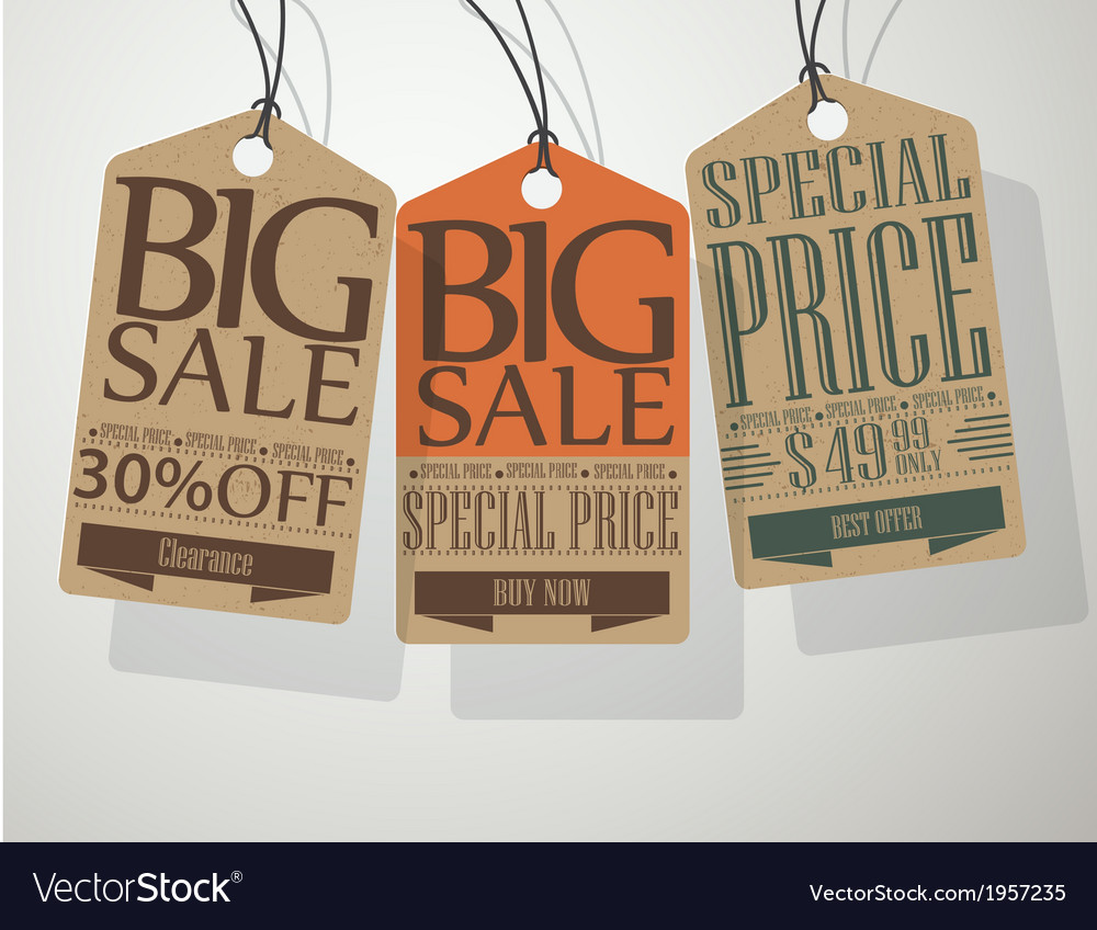 Vintage style sale tags vector | Price: 1 Credit (USD $1)