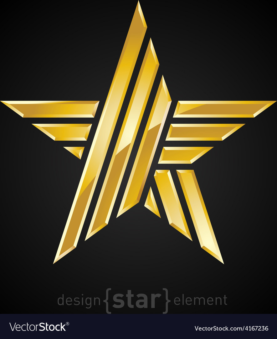 Abstract gold star on black background vector | Price: 1 Credit (USD $1)