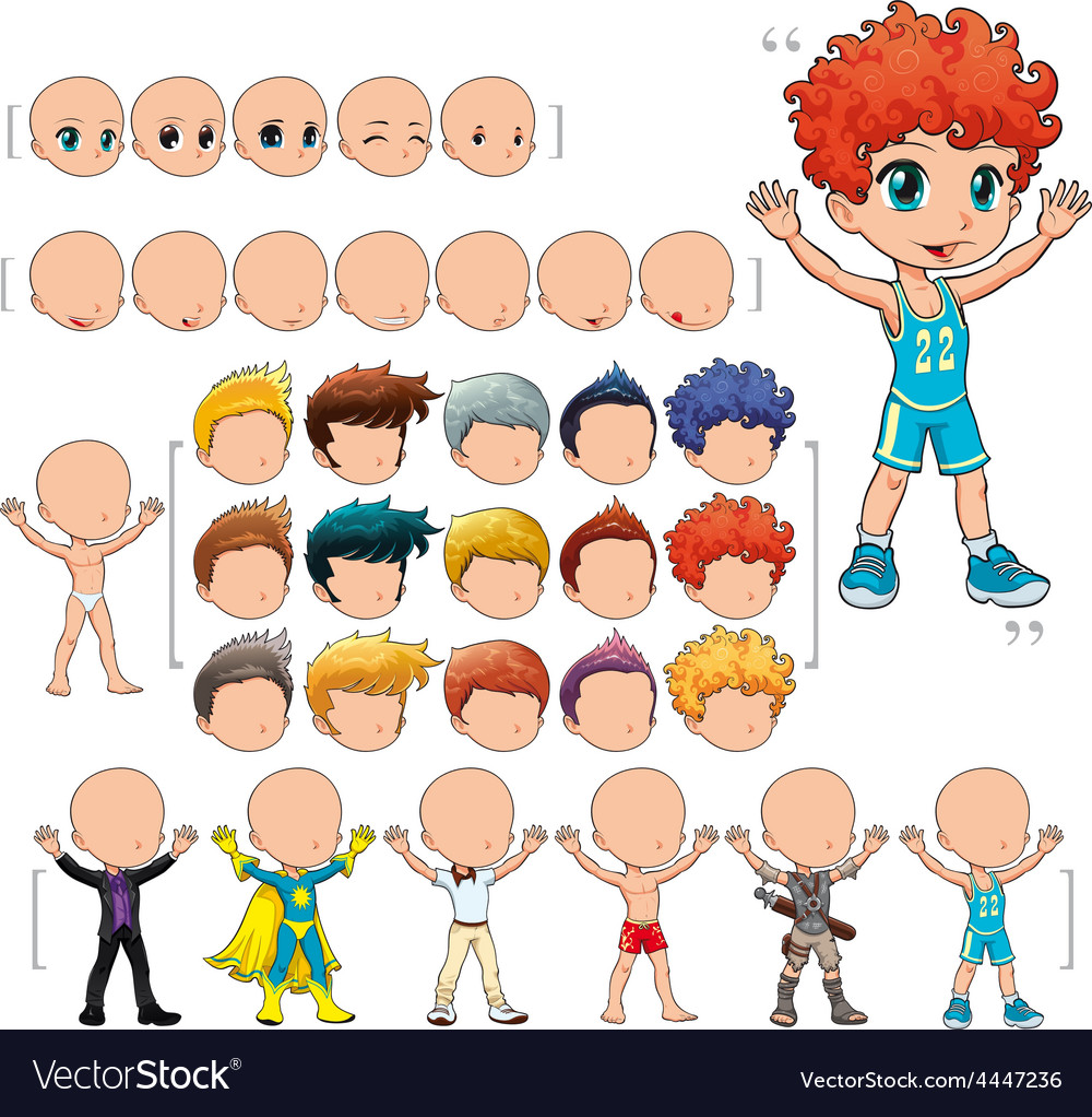 Avatar boy isolated objects vector | Price: 1 Credit (USD $1)