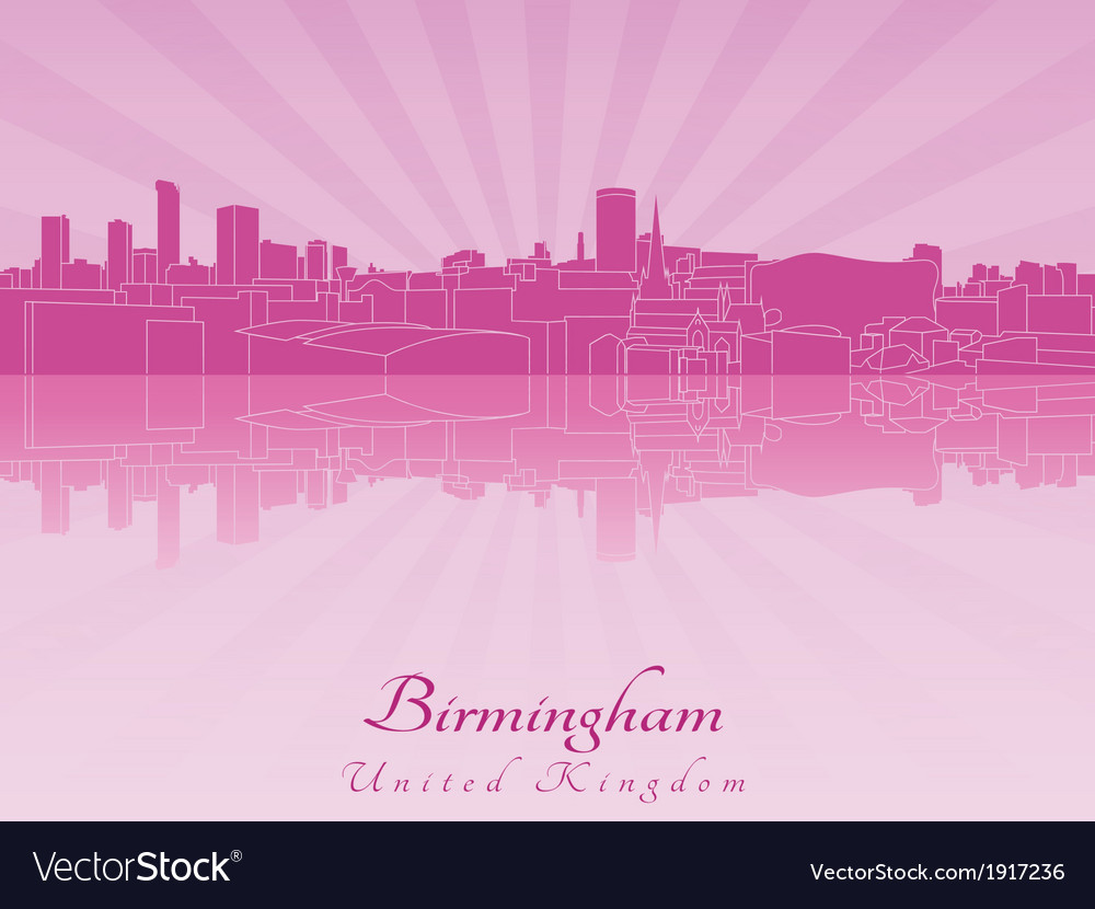 Birmingham skyline in purple radiant orchid vector | Price: 1 Credit (USD $1)