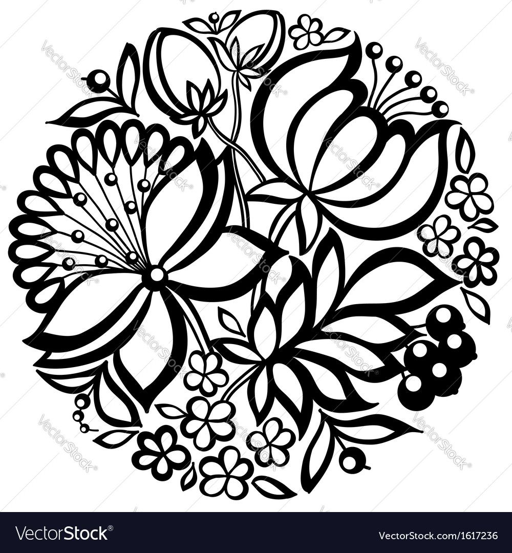Black-and-white floral arrangement of a circle vector | Price: 1 Credit (USD $1)