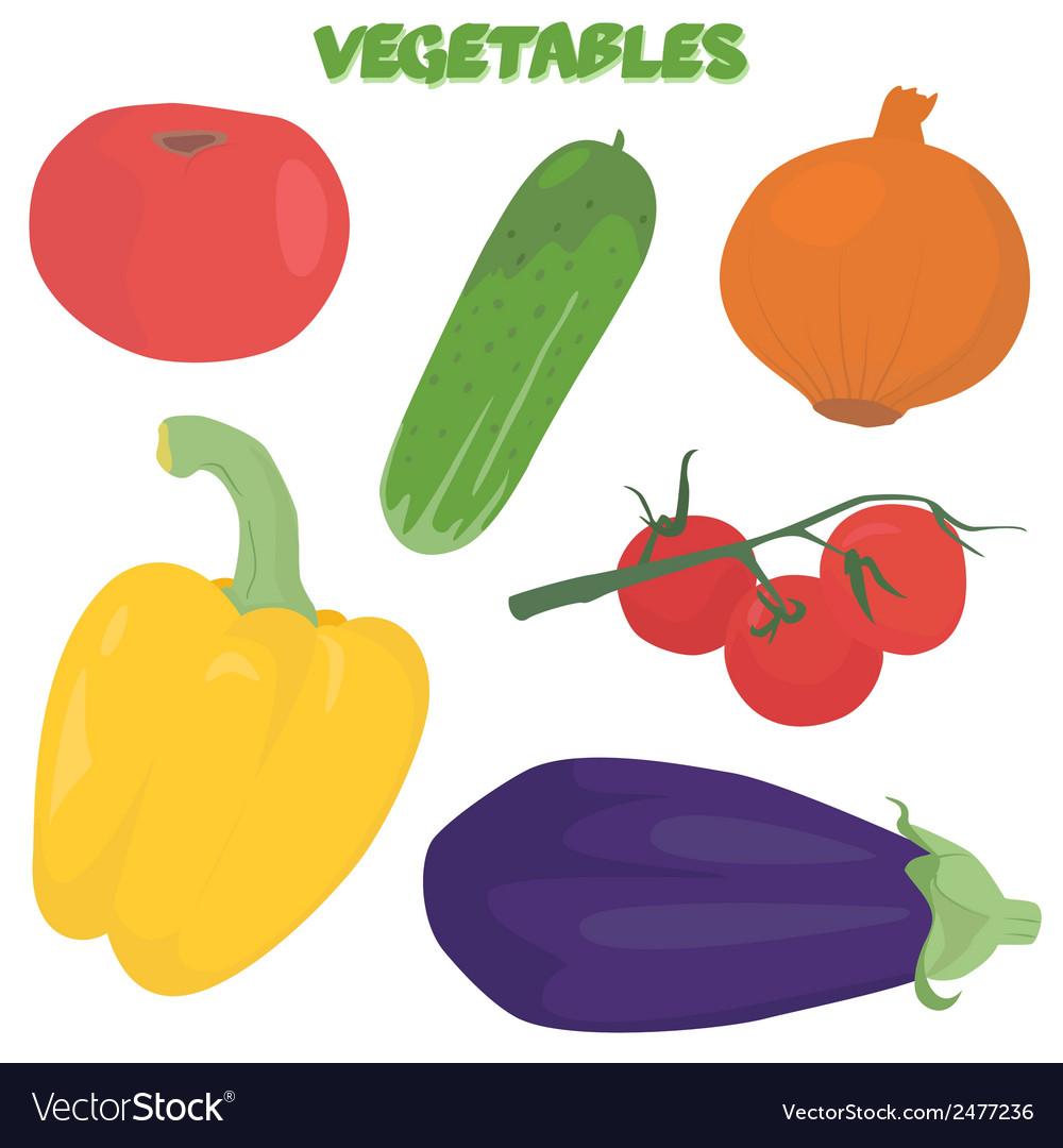 Cartoon vegetable set vector | Price: 1 Credit (USD $1)