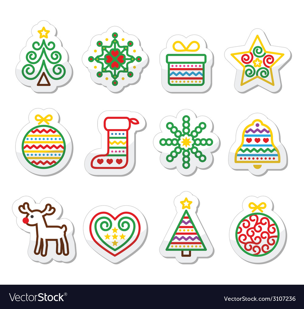 Christmas icons with stroke - xmas tree present vector | Price: 1 Credit (USD $1)