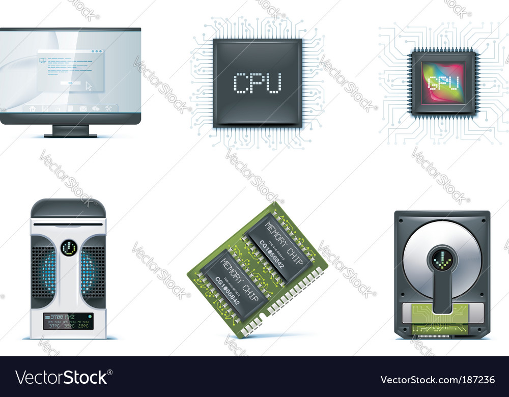Computer icon set vector | Price: 3 Credit (USD $3)