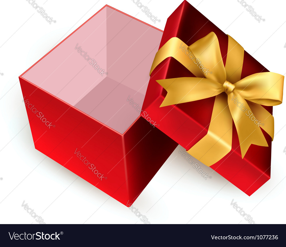 Open red gift box with golden ribbon vector | Price: 1 Credit (USD $1)