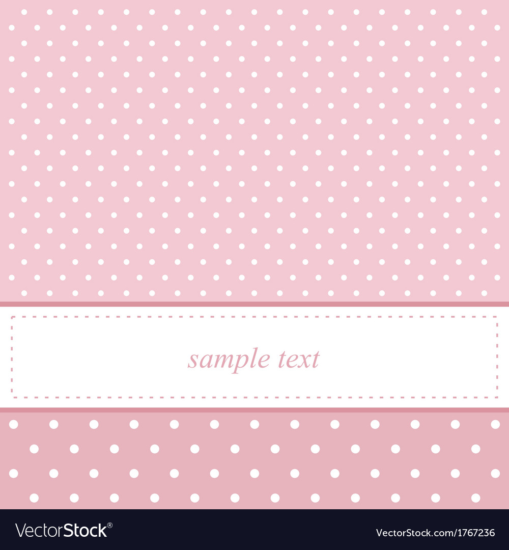 Pink and white polka dots card invitation vector | Price: 1 Credit (USD $1)