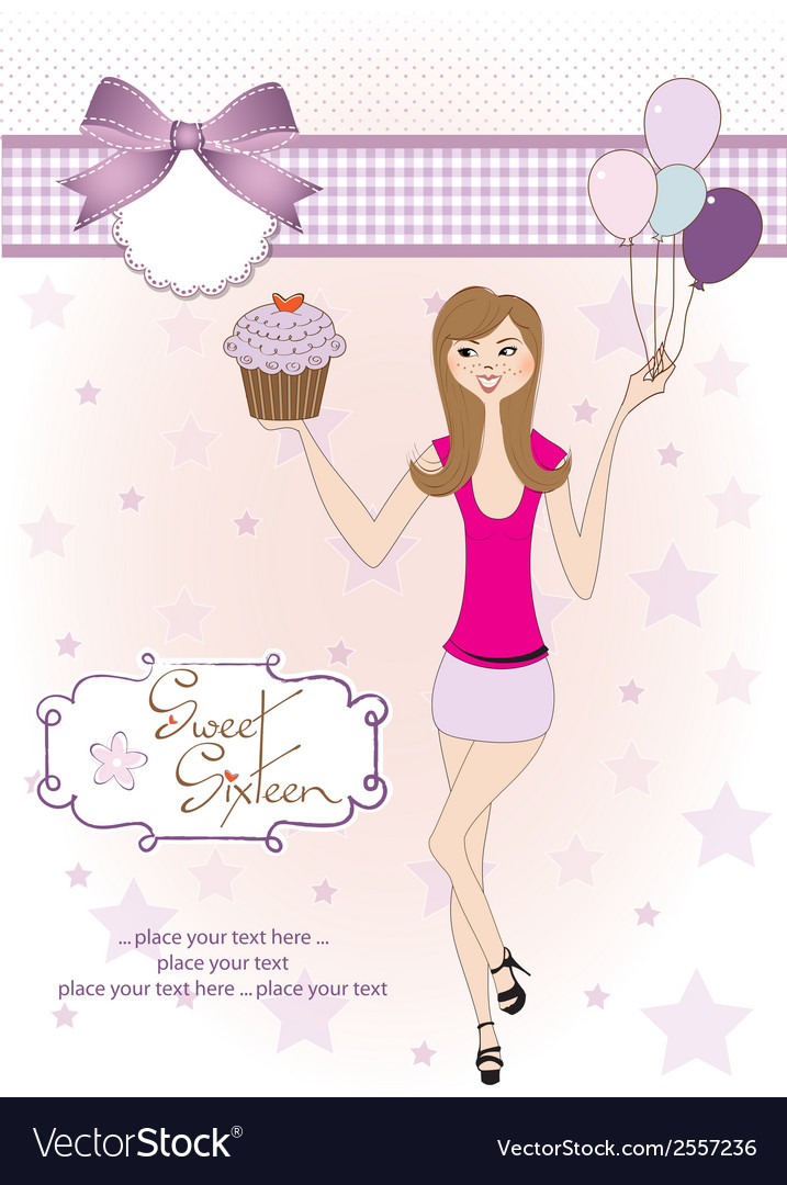 Sweet sixteen birthday card with young girl vector | Price: 1 Credit (USD $1)