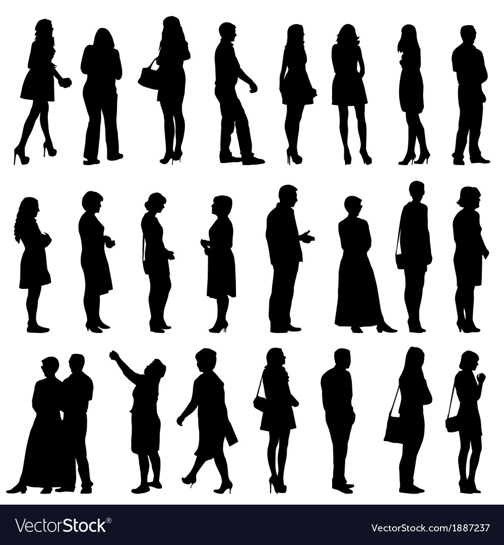 Black silhouettes of beautiful mans and womans on vector   Price: 1 Credit (USD $1)