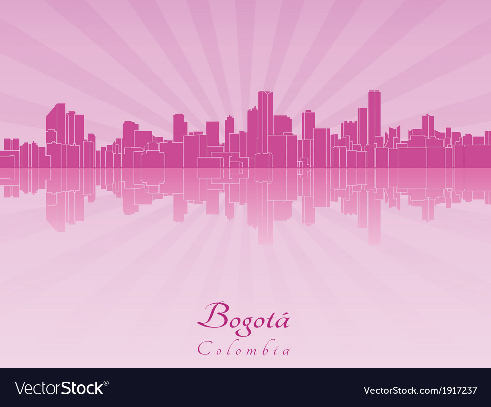 Bogota skyline in purple radiant orchid vector | Price: 1 Credit (USD $1)