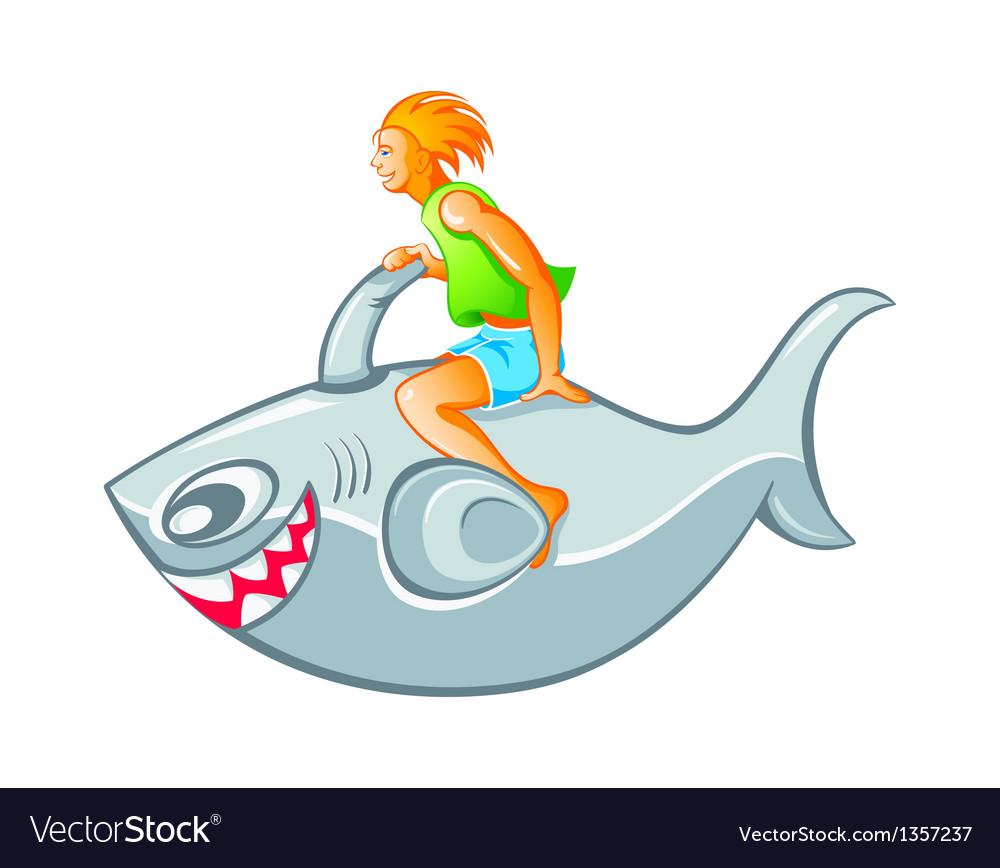 Boy on shark rocket vector | Price: 3 Credit (USD $3)