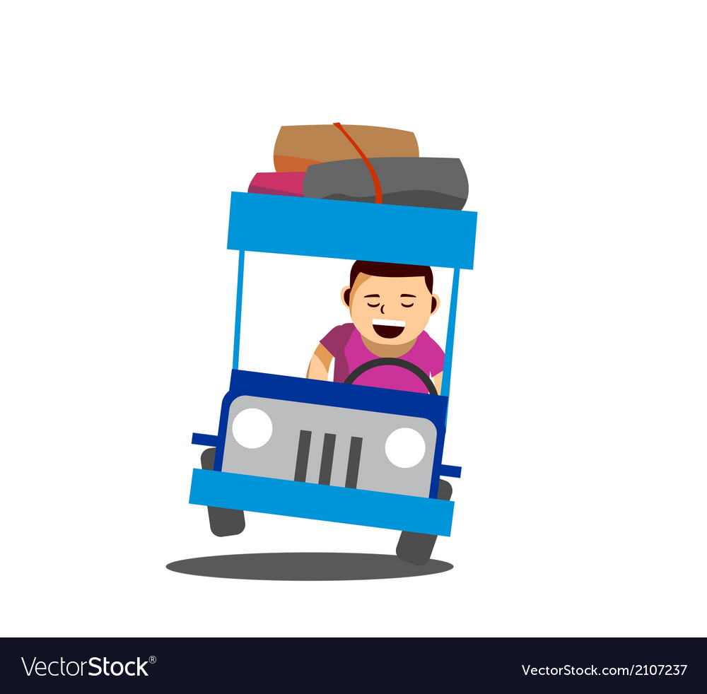 Cheerful man driving a philippine jeep vector | Price: 1 Credit (USD $1)