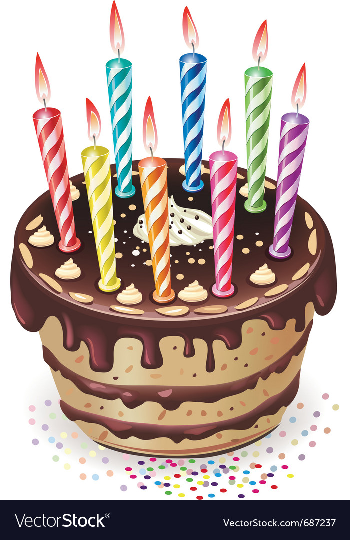 Chocolate cake with candles vector   Price: 3 Credit (USD $3)