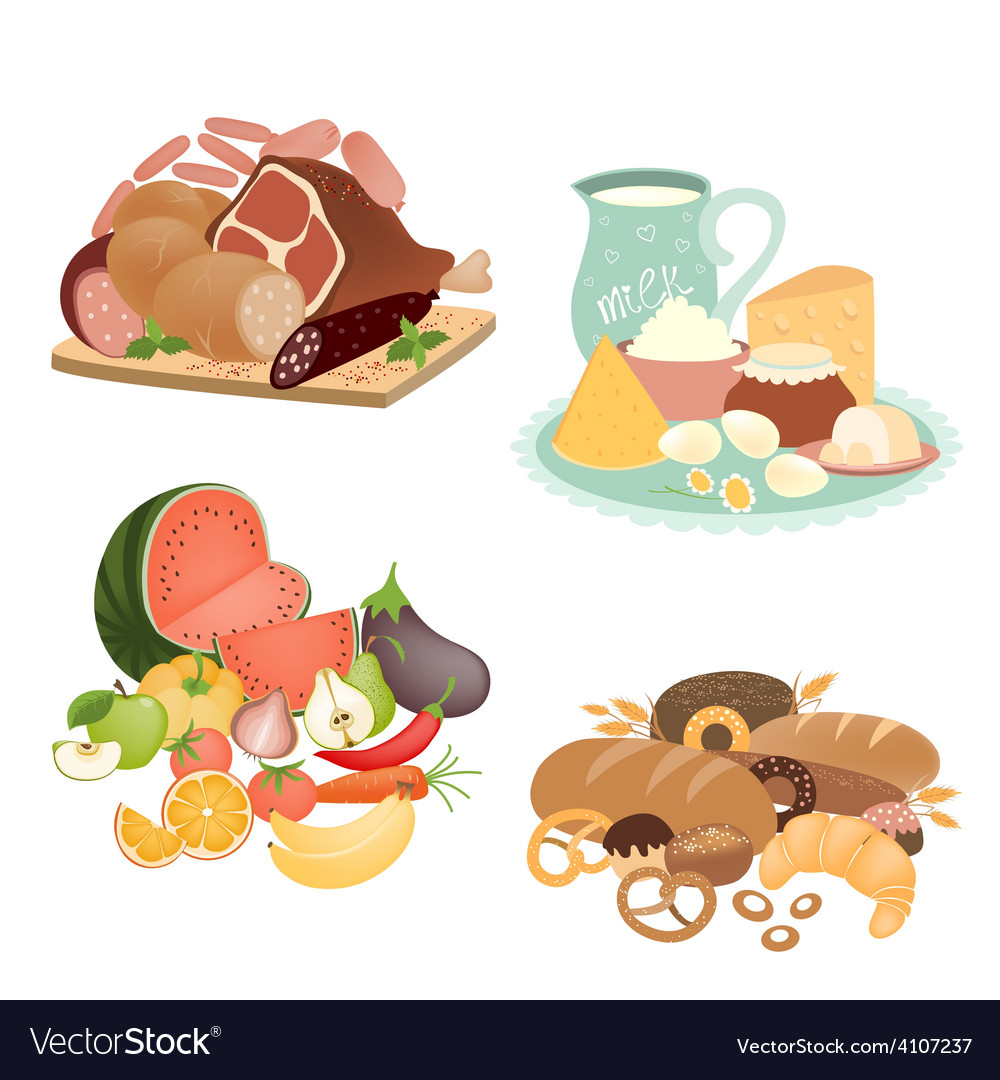 Collection of food items vector | Price: 1 Credit (USD $1)