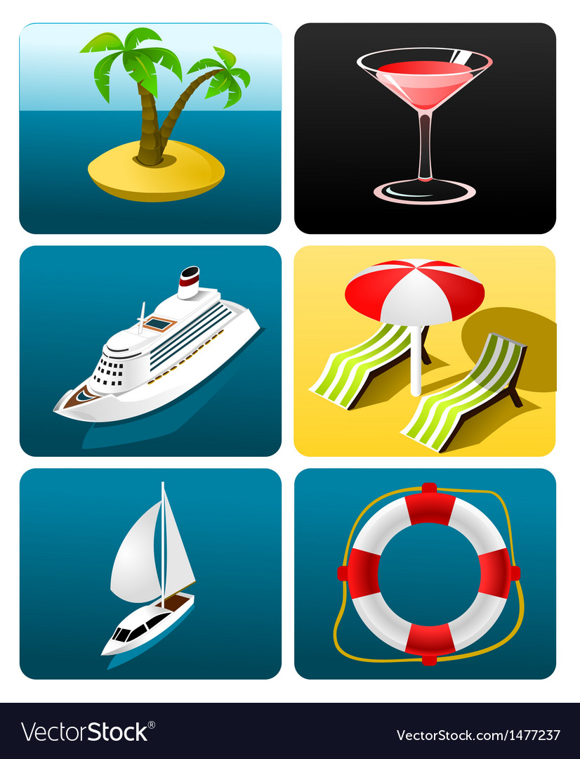 Collection of travel icons vector | Price: 1 Credit (USD $1)