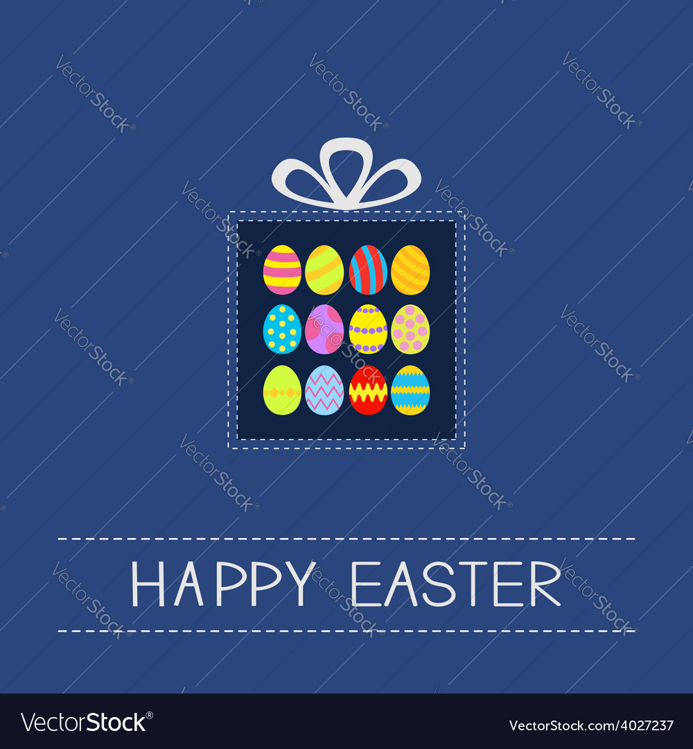 Colored easter egg set dash line giftbox card flat vector | Price: 1 Credit (USD $1)