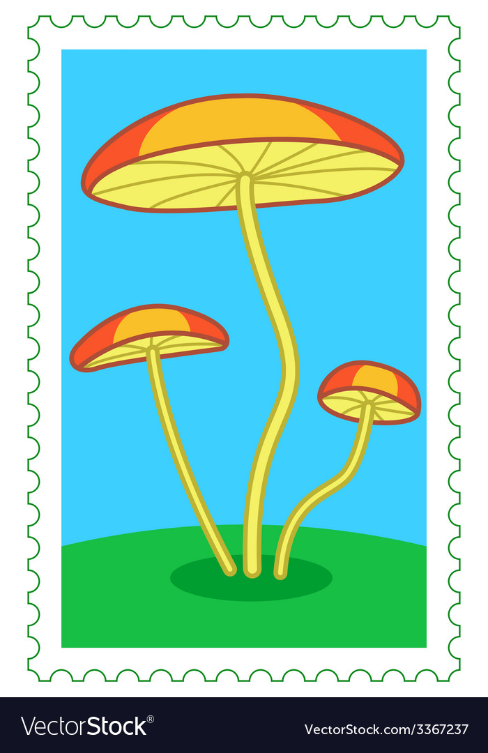 Fungi on stamp vector | Price: 1 Credit (USD $1)