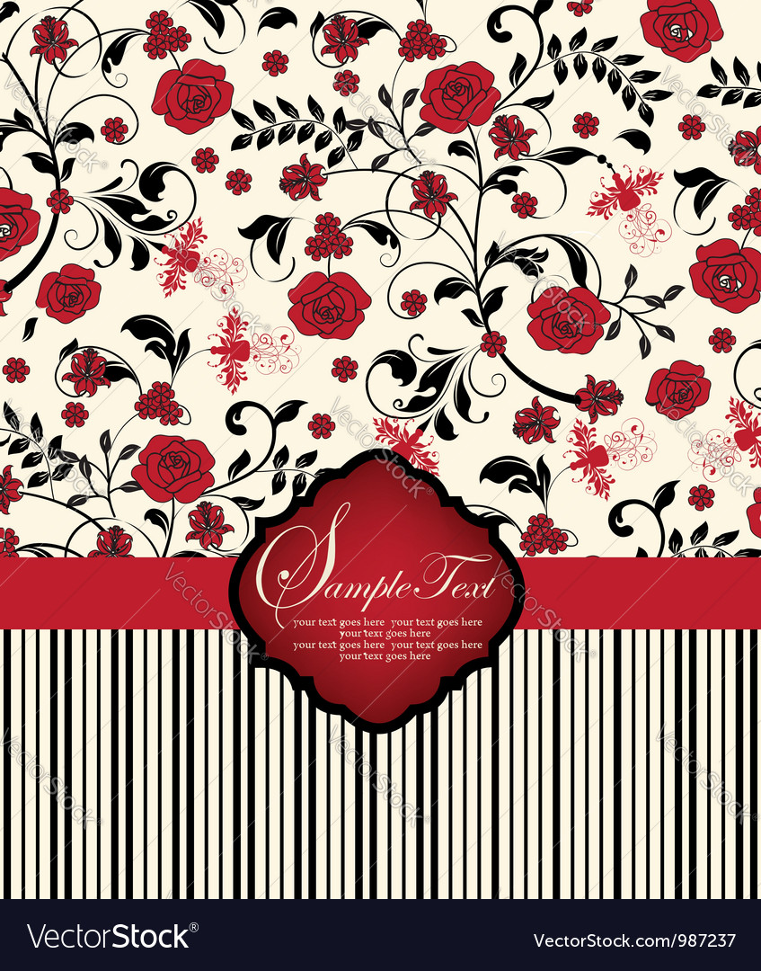 Invitation card with red flowers vector | Price: 1 Credit (USD $1)