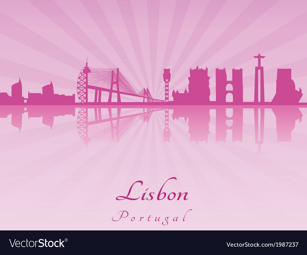 Lisbon skyline in purple radiant orchid vector | Price: 1 Credit (USD $1)