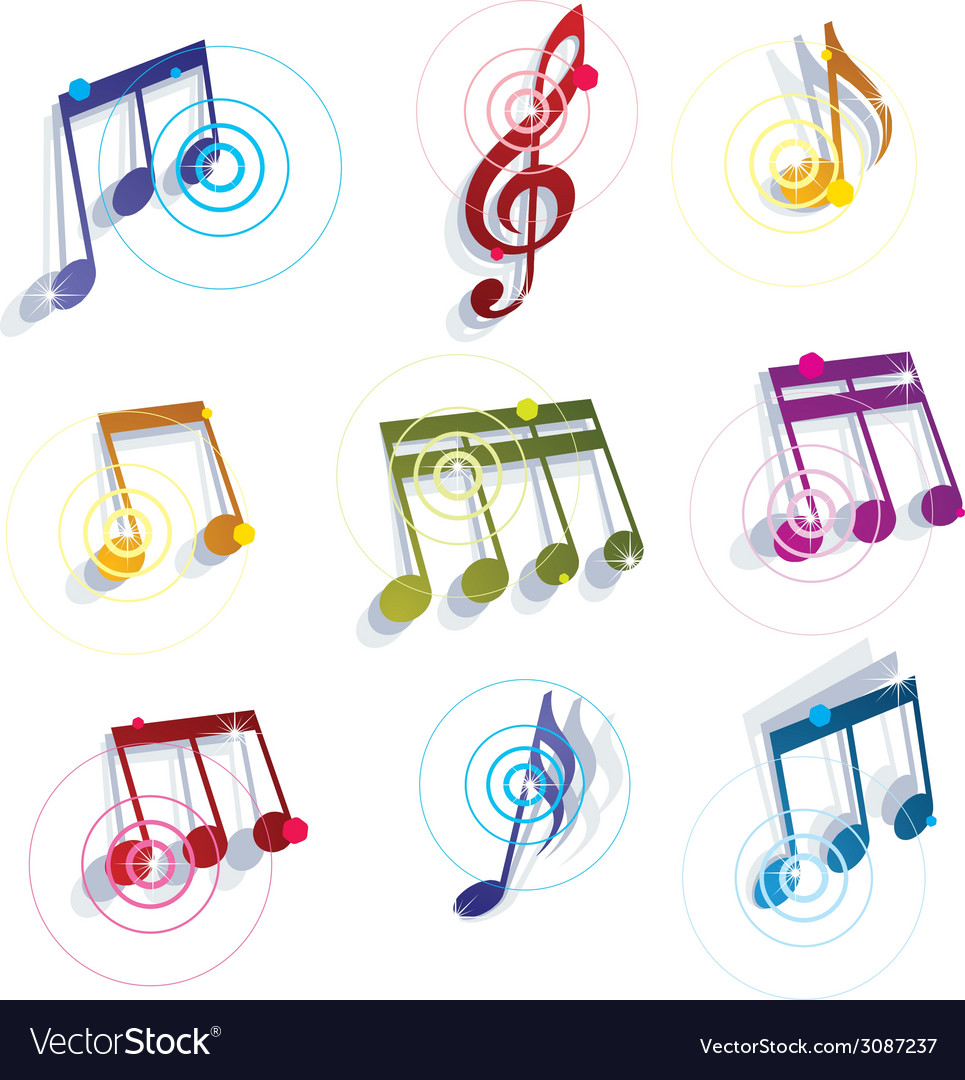 Musical notes icons set vector | Price: 1 Credit (USD $1)