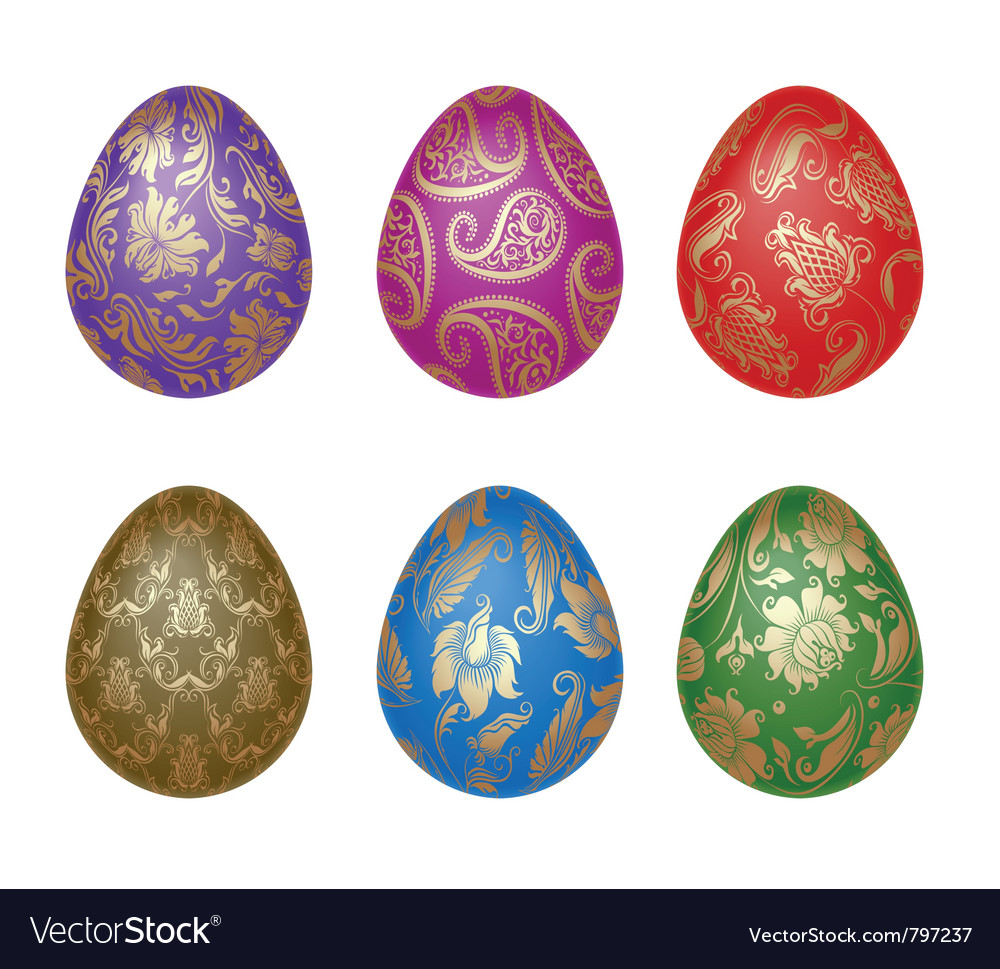 Set of easter eggs with ornaments vector | Price: 1 Credit (USD $1)