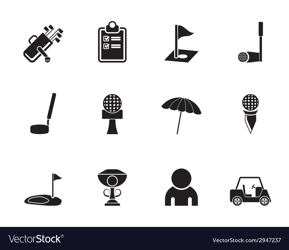 Silhouette golf and sport icons vector | Price: 1 Credit (USD $1)